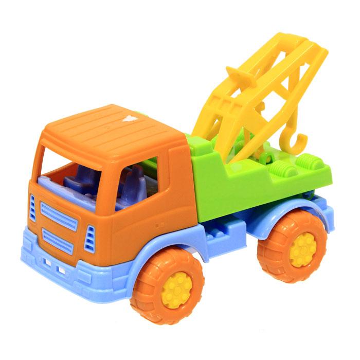 Полесье Автомобиль-эвакуатор Тема3277Яркий автомобиль, изготовленный из прочного безопасного пластика, отлично подойдет ребенку для различных игр. Колеса машины крутятся, кран поднимается.