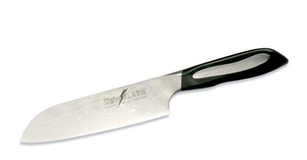 Нож поварской Tojiro Flash, длина лезвия 18 смFF-SA180Поварской нож Tojiro Flash выполнен из высококачественной 63-слойной нержавеющей стали, обладающей высокой твердостью и устойчивостью к коррозии. Лезвие обтекаемой формы оформлено японскими иероглифами. Эргономичная ручка, выполненная из пластика, позволяет держать нож свободно и максимально удобно. Такой нож займет достойное место среди аксессуаров на вашей кухне.