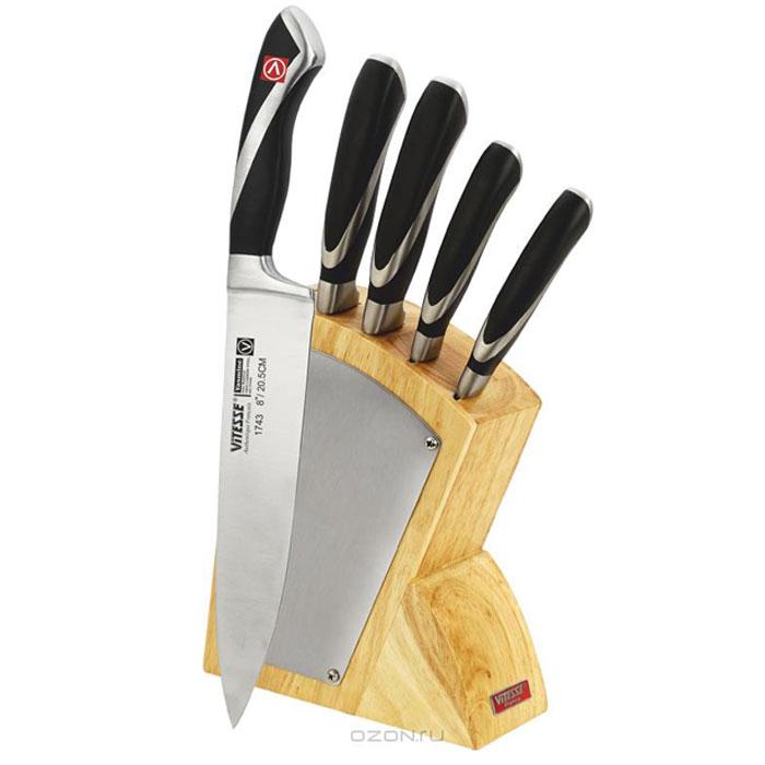 Набор ножей Vitesse Yasmine, 6 предметовVS-1743Набор ножей Vitesse Yasmine состоит из поварского ножа, ножа для хлеба, разделочного ножа, универсального ножа и ножа для чистки и резки. Предметы набора устанавливаются в удобную подставку. Ножи выполнены из высоко-углеродистой стали, которая обеспечивает высокие режущие свойства кромки клинка. Сечение клинка ножей клинообразное, что позволяет режущей кромке быть продолжительное время острой. Тщательно разработанный дизайн рукоятки и качество ее шлифовки позволяет ножу удобно располагаться в руке. Подставка изготовлена из качественной древесины с полимерным покрытием. Физические и практические свойства данного материала гарантируют длительный эксплуатационный период. Ножи пригодны для мытья в посудомоечной машине.