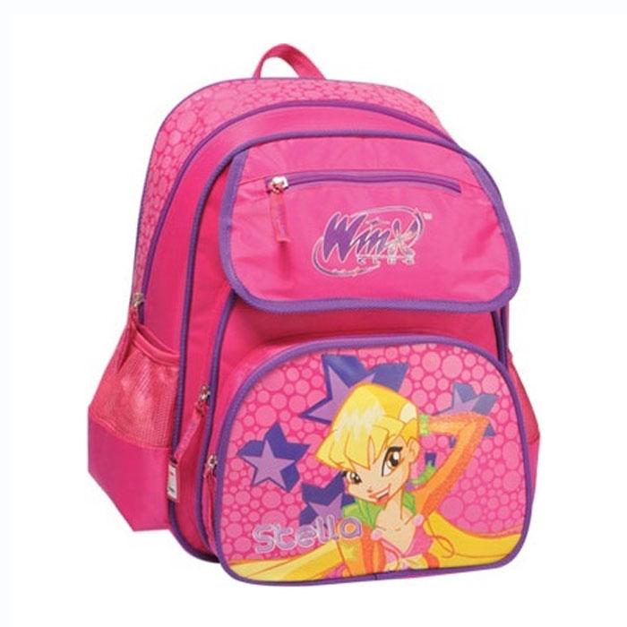 """Стильный школьный рюкзак  """"Winx Club """" розового цвета с фиолетовыми..."""