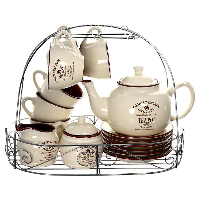 Чайный набор Кухня в стиле Кантри, 16 предметовTLY-HD0015-CK-ALЧайный набор Кухня в стиле Кантри состоит из металлической подставки, сахарницы, молочника, 6 блюдец, 6 чашек и чайника. Предметы набора изготовлены из жаропрочной керамики и покрыты высококачественной глазурью. Такой чайный набор не оставит равнодушной не одну хозяйку или станет прекрасным подарком.