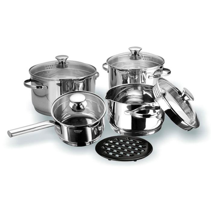 Набор посуды Vitesse Petunia, 9 предметов.VS-1028Набор посуды Vitesse Petunia прекрасно подойдет для вашей кухни. Он состоит из трех кастрюль с крышками вместительностью 2,65 л, 3,9 л, и 6,1 л, сотейника с крышкой и подставки под горячее. Предметы набора изготовлены из высококачественной нержавеющей стали 18/10. Они оснащены капсулированным дном с прослойкой алюминия, которое обеспечивает наилучшее распределение тепла по поверхности посуды. Кастрюли и сотейник имеют на внутренней стенке шкалу литража, а также два носика для удобного слива воды. Ручки из нержавеющей стали надежно крепятся к корпусу емкостей. Крышки выполнены из термостойкого стекла и позволяют следить за процессом приготовления пищи. Они оснащены металлическим ободом по краю, который позволит предотвратить сколы стекла. На металлическом ободе имеются набольшие отверстия для удобного процеживания. Подставка под горячее изготовлена из бакелита черного цвета. Посуду можно использовать на всех типах плит, включая индукционные. Также изделия можно мыть в...