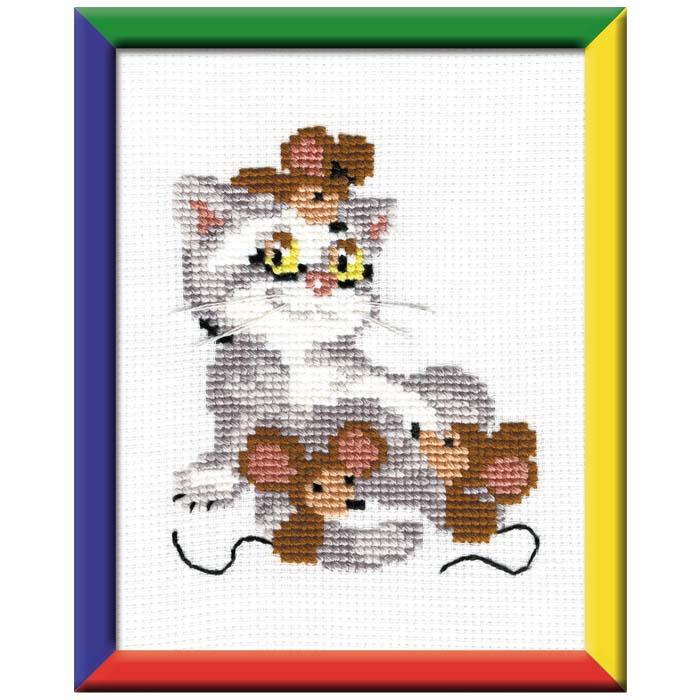 """Набор для вышивания """"Кот с мышами"""", 15 х 18 см ( 558 )"""