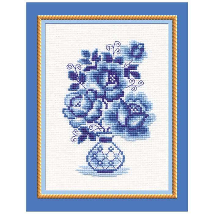 """Набор для вышивания крестом """"Гжель. Розы"""", 18 см х 24 см ( 839 )"""