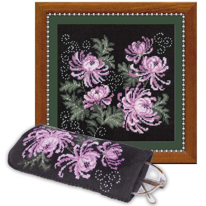 """Набор для вышивания """"Панно, очечника """"Хризантемы"""", 18 см х 18 см ( 966 )"""