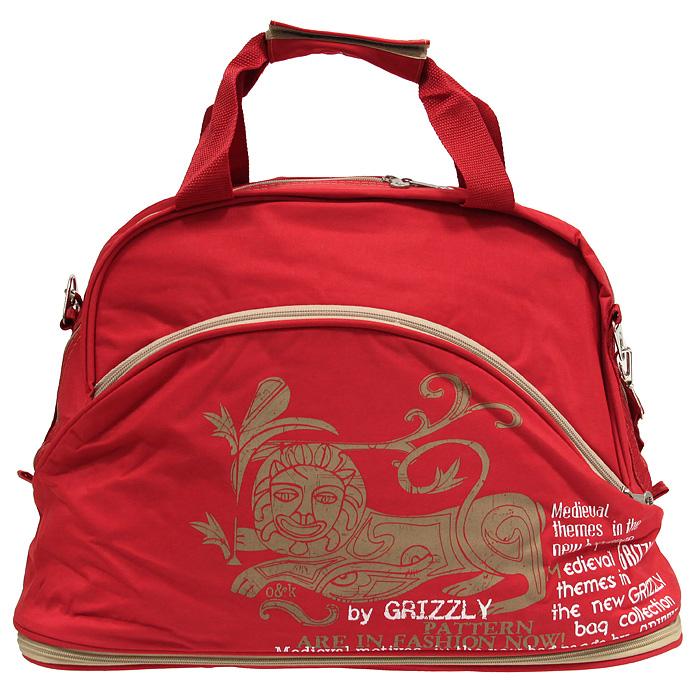 """Д-9т Grizzly Вместительная дорожная сумка  """"Grizzly """" выполнена из таслана красного цвета.  Внутри сумка состоит из"""
