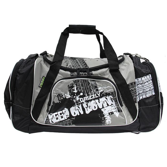 """Купить Сумка спортивная  """"Grizzly """", цвет: серый, черный.  СП-1531"""