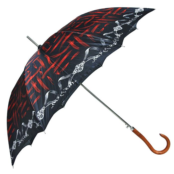 Зонт-трость Edmins, цвет: черный, красный. 501/11 E501/11 ЕИзысканный зонт-трость Edmins даже в ненастную погоду позволит вам оставаться стильной и элегантной. Каркас зонта выполнен из восьми металлических спиц, удобная закругленная рукоятка - из дерева. Зонт имеет полуавтоматический механизм складывания-раскладывания: купол открывается нажатием кнопки на рукоятке; складывается зонт вручную до характерного щелчка.
