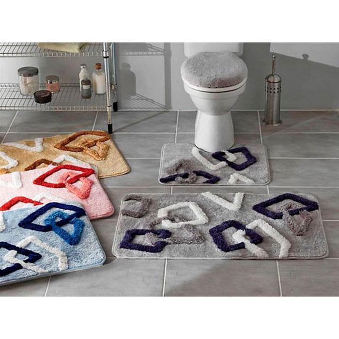"""Набор ковриков для ванной комнаты  """"Delta """", цвет: розовый, 3 шт."""