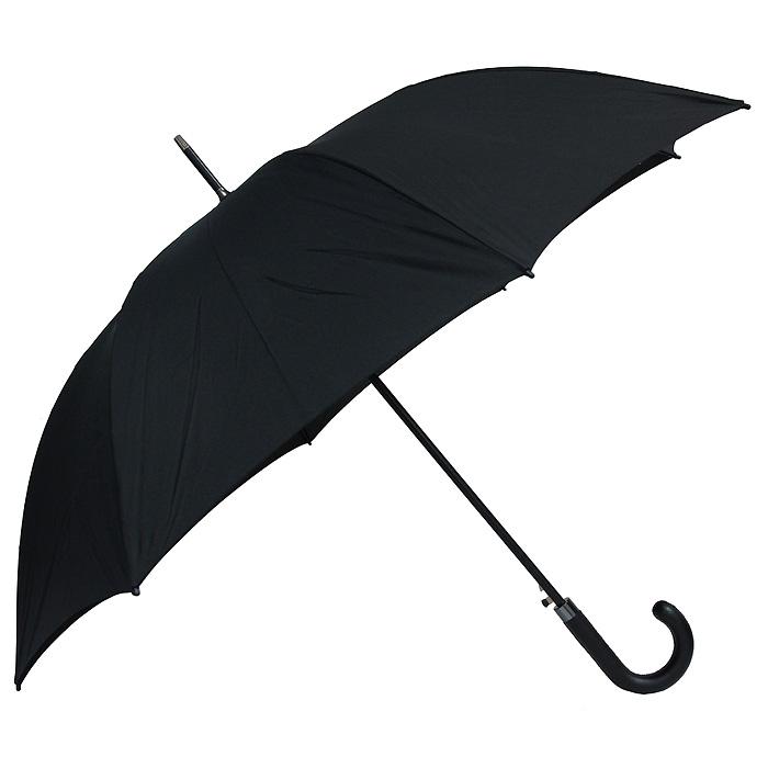 Зонт-трость Vogue, цвет: черный. 555 V555 VЭлегантный зонт-трость Vogue черного цвета идеально подойдет представителю сильного пола. Каркас зонта выполнен из восьми металлических спиц, удобная закругленная рукоятка - покрыта кожзаменителем. Применение в производстве каркаса зонта современных материалов уменьшает его вес и гарантирует надежность и качество. Структура материала купола обладает водо-, масло-, грязеотталкивающими свойствами при сохранении всех природных характеристик материалов. Зонт имеет полуавтоматический механизм складывания-раскладывания: купол открывается путем нажатия кнопки на рукоятке; складывается зонт вручную до характерного щелчка.