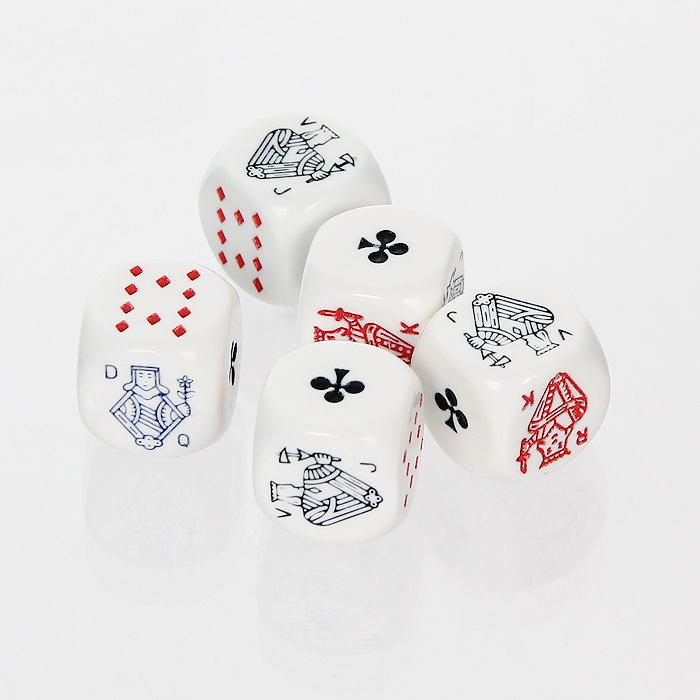 Набор игральных костей Piatnik, цвет: белый, 5 шт2970Набор состоит из пяти покерных костей с карточными мастями на гранях.