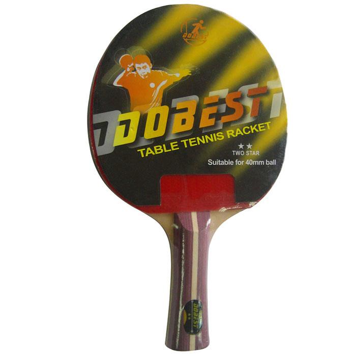 Ракетка для настольного тенниса Dobest. 2 StarBR01/2Ракетка Dobest предназначена для игры в настольный теннис для любителей и игроков начального уровня. Ракетка выполнена из дерева, накладка из резины. Основные характеристики: Контроль: 7. Скорость: 8. Кручение: 6.
