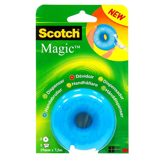 Диспенсер для клейкой ленты Scotch, цвет: голубой6-1975R2Вашему вниманию предлагается яркий, веселый и компактный диспенсер в виде пончика с лентой Scotch Magic внутри. Он герметично закрывается, защищая клейкую ленту, поэтому его очень удобно носить с собой. Подходит для клейкой ленты шириной до 19 мм и длиной до 33 м. Характеристики: Материал: пластик. Размер диспенсера: 7 см х 7 см х 3,5 см. Цвет: голубой. Изготовитель: Китай.
