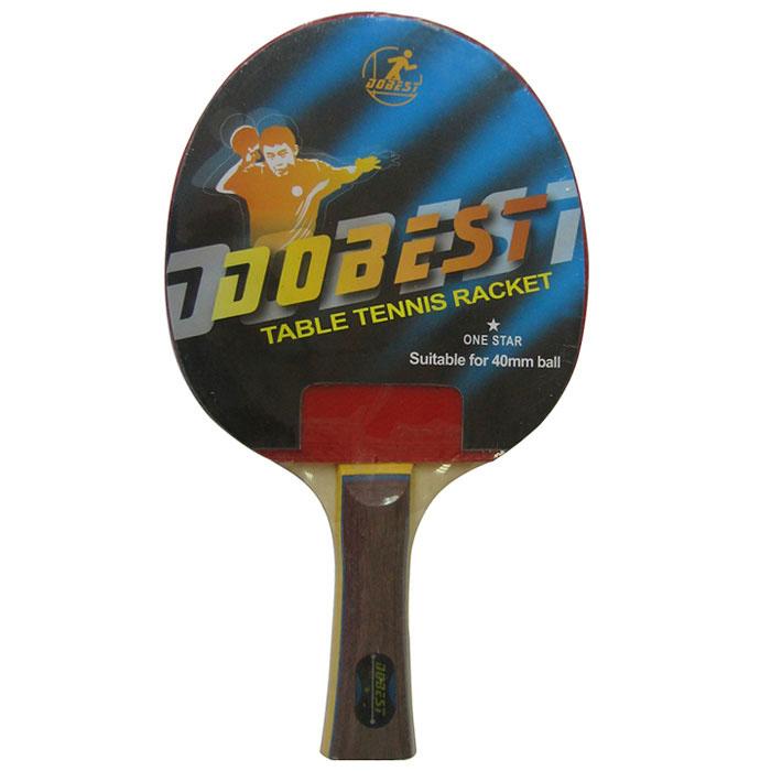 Ракетка для настольного тенниса Dobest. 1 StarBR01/1Ракетка Dobest предназначена для игры в настольный теннис для любителей и игроков начального уровня. Ракетка выполнена из дерева, накладка из резины. Основные характеристики: Контроль: 6. Скорость: 7. Кручение: 6. Характеристики: Материал: дерево, резина. Размер ракетки: 26 см х 15 см. Длина ручки: 10 см. Артикул: BR01/1. Производитель: Китай.
