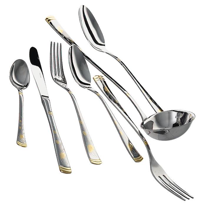 Набор столовых приборов Gemini Gold Flower, 51 предметGI5450-51ALНабор столовых приборов Gemini Gold Flower состоит из 51 предмета: 12 ножей, 12 столовых ложек, 12 вилок, 12 чайных ложек, половника, вилки для мяса, ложки для салата. Приборы выполнены из нержавеющей пищевой стали марки 18/10, отполированы до зеркального блеска и декорированы золотом 24 карата. Такой набор станет достойным и изысканным украшением стола. Все предметы набора хранятся в подарочной коробке. Характеристики: Материал: нержавеющая сталь. Длина столовой ложки: 20 см. Длина чайной ложки: 14,5 см. Длина ножа: 21,7 см. Длина вилки: 20 см. Длина ложки для салата: 24 см. Длина вилки для мяса: 24,2 см. Длина половника: 28 см. Размер коробки: 58,5 см х 32,5 см х 7 см. Размер упаковки: 58,5 см х 32,5 см х 7 см. Изготовитель: Италия. Артикул: GI5450-54AL. Компания Giorinox была основана в 1960 году и с тех пор является одной из ведущих европейских фирм по производству посуды и изделий для дома из...