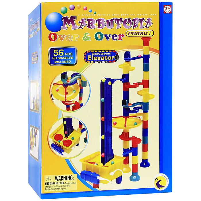 Marbutopia Конструктор Over&Over6820Конструктор Marbutopia Over&Over - первый шаг ребенка в мир конструирования объемных лабиринтов. В данном комплекте имеются длинные извилистые дорожки, водоворот, дорожки-петли, элеватор, множество вертикальных трубок и 20 стеклянных шариков. Основная задача - построить горку так, чтобы шарик не застревал, а скатывался вниз по дорожкам и виражам. Элеватор делает игру еще более увлекательной, автоматически поднимая шарики вверх, чтобы они скатились снова и снова, доставляя ребенку большую радость. Особенность конструктора заключается в том, что он позволяет ребенку строить бесконечные забавные лабиринты руководствуясь своей фантазией. Конструирование лабиринтов полезно для развития пространственного мышления и воображения. Также развивает координацию, моторику, концентрацию, планирование, стратегию, понятие причины и следствия. Раннее развитие этих навыков, как известно, существенно увеличивает академические и интеллектуальные способности ребенка. Конструктор...