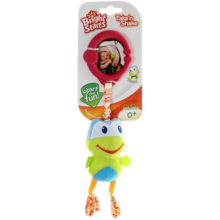 Bright Starts мягкая игрушка-подвеска Дрожащий дружок. Лягушка8808-3Мягкая игрушка-подвеска Дрожащий дружок. Лягушка непременно понравится малышу и не позволит ему скучать. Игрушка выполнена в виде забавной лягушки из современных, легких материалов разных цветов и фактур, абсолютно безопасных для ребенка. Потянув за подвеску, малыш сможет притянуть ее ближе к себе, а как только отпустит - она завибрирует и вернется в исходное положение. При помощи специальной пластиковой прищепки игрушку можно с легкостью закрепить на кроватке, коляске или игровой дуге малыша. Игрушка поможет развить цветовое и звуковое восприятие, тактильные ощущения и мелкую моторику рук ребенка.