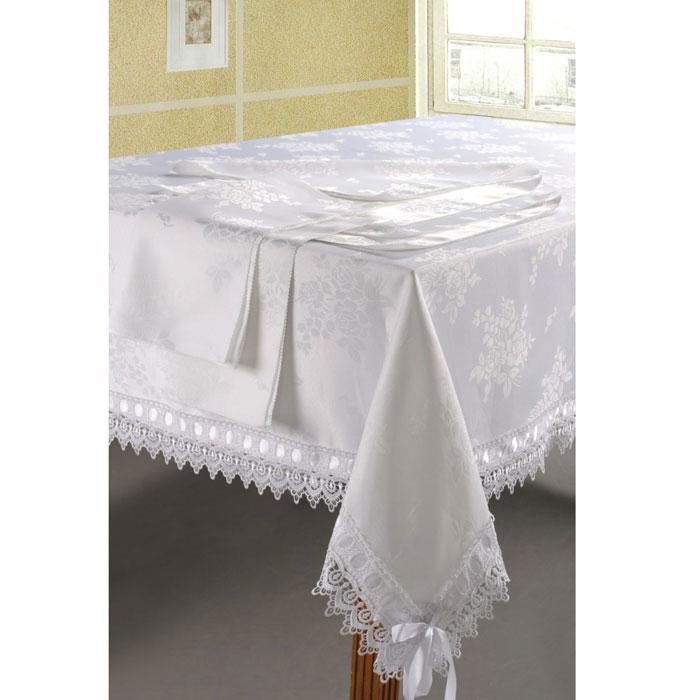 Комплект столового белья SL, цвет: белый, 7 предметов. 0845508455Роскошный комплект столового белья SL состоит из скатерти прямоугольной формы и шести квадратных салфеток. Комплект выполнен из ацетатного шелка с жаккардовым рисунком. Края скатерти декорированы изысканным кружевом и лентой. Комплект, несомненно, придаст интерьеру уют и внесет что-то новое. Использование такого комплекта сделает застолье более торжественным, поднимет настроение гостей и приятно удивит их вашим изысканным вкусом. Вы можете использовать этот комплект для повседневной трапезы, превратив каждый прием пищи в волшебный праздник и веселье. Жаккард - одна из дорогих тканей. Жаккардовые ткани очень прочны и долговечны, очень удобны в эксплуатации. Изготавливается жаккард благодаря особой технике плетения в основном из хлопчатобумажной, синтетической или смесовой пряжи. Своеобразный рельефный рисунок, который получается в результате сложного плетения на плотной ткани, напоминает своего рода гобелен. Комплект...