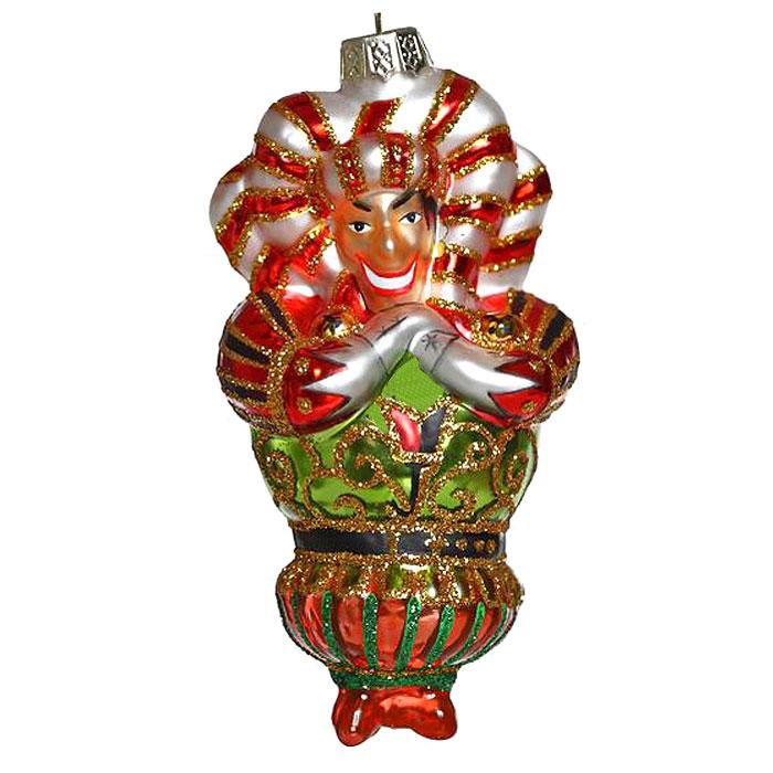 Новогоднее подвесное украшение Джокер. 2212722127Новогоднее украшение Джокер отлично подойдет для декорации вашего дома и новогодней ели. Игрушка выполнена из стекла в виде джокера, украшенного золотистыми блестками. Елочная игрушка - символ Нового года. Она несет в себе волшебство и красоту праздника. Создайте в своем доме атмосферу веселья и радости, украшая всей семьей новогоднюю елку нарядными игрушками, которые будут из года в год накапливать теплоту воспоминаний. Коллекция декоративных украшений из серии Magic Time принесет в ваш дом ни с чем не сравнимое ощущение волшебства!