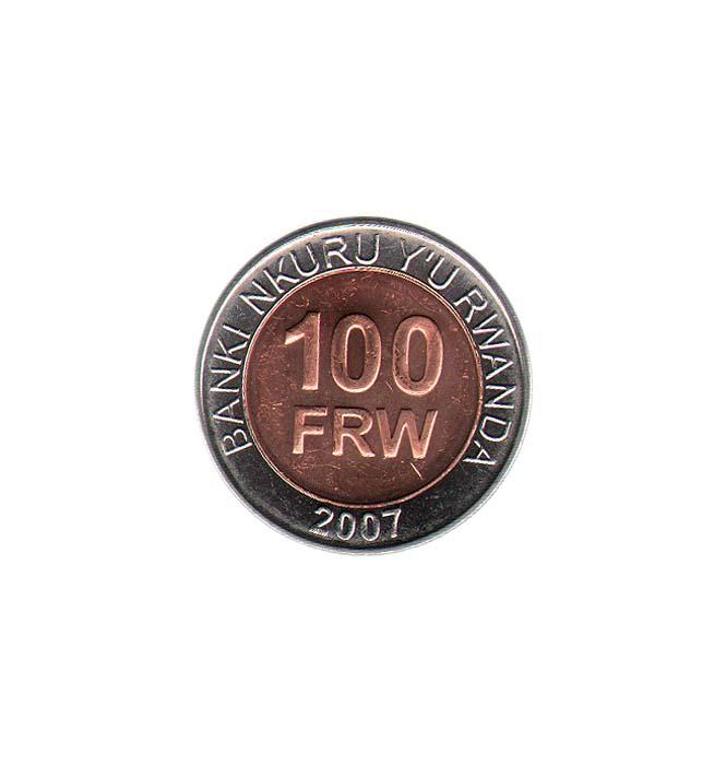 Монета номиналом 100 франков. Руанда, 2007 год131004Монета номиналом 100 франков. Руанда, 2007 год. Диаметр 2,6 см. Сохранность хорошая.