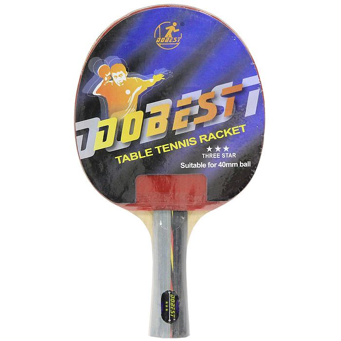 Ракетка для настольного тенниса Dobest. 3 StarBR01/3Ракетка Dobest предназначена для игры в настольный теннис для любителей и игроков начального уровня. Ракетка выполнена из дерева, накладка из резины шипами внутрь, имеется тонкая губчатая прокладка. Основные характеристики: Контроль: 8. Скорость: 8. Кручение: 9.