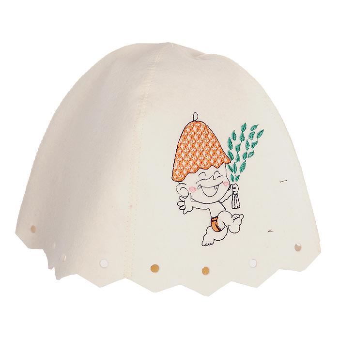 Шапка детская для бани и сауны Юный баншик, цвет: белыйБ45011Детская шапка для бани и сауны выполнена из натурального белого фетра с вышивкой в виде веселого карапуза. Шапка защитит вашего ребенка от появления головокружения в бане и голову от перегрева. Характеристики: Материал: фетр. Диаметр основания шапки: 30 см. Высота шапки: 20 см. Производитель: Россия. Артикул: 45011.