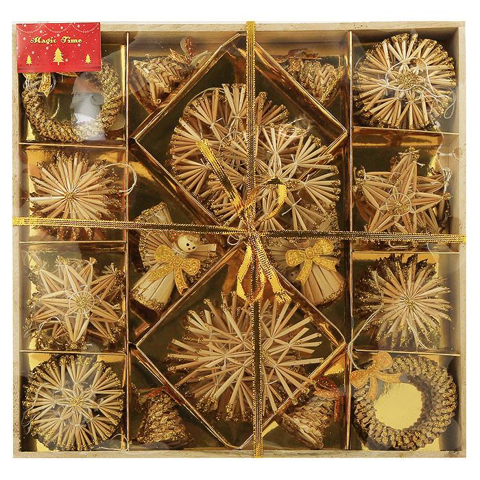 Набор подвесных новогодних украшений Magic Time, 48 шт. 2223722237Стильный набор новогодних украшений Magic Time, выполненных из натуральной соломки, идеально дополнит праздничное убранство вашей елки. Комплект включает в себя 48 декорированных золотистыми блестками игрушек, упакованных в коробку, перевязанную декоративной атласной лентой также золотистого цвета. Украшения из натуральной соломы сейчас находятся на пике моды. Но мало кто знает, что на самом деле модное веяние является ничем иным, как хорошо забытым атрибутом рождественский праздников стран раннехристианской Европы. Солома напоминала о яслях, в которых лежал младенец Иисус - из нее мастерили праздничных куколок, короны, пирамиды и просто рассыпали по полу.