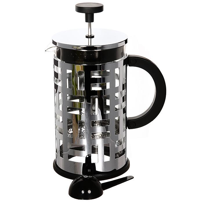Кофейник Eileen с прессом, 1 л11195-16Кофейник Eileen займет достойное место на вашей кухне. Оснащен фильтром french press. К кофейнику прилагается мерная ложечка. Современный дизайн полностью соответствует последним модным тенденциям в создании предметов бытовой техники. Настоящим ценителям натурального кофе широко известны основные и наиболее часто применяемые способы его приготовления: эспрессо, по-турецки, гейзерный. Однако существует принципиально иной способ, известный как french press, благодаря которому приготовление ароматного напитка стало гораздо проще. Профессиональная серия Eileen была задумана и создана в честь великого архитектора и дизайнера - Эйлин Грей (Eileen Gray). При создании серии были особо учтены соображения функционального удобства. Стильный внешний вид и практичность в использовании сделали Eileen чрезвычайно востребованной серией. Характеристики: Материал: нержавеющая сталь, стекло, пластик. Объем: 1 л. Размер упаковки: 22 см х 15,5 см х 11,5...