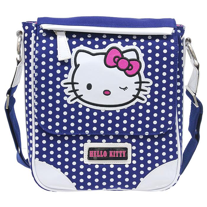 Сумка молодежная Hello Kitty, вертикальная, цвет: синий, белый.