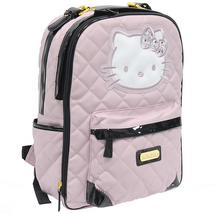 """Рюкзак  """"Hello Kitty """" выполнен из искусственной кожи светло-розового..."""
