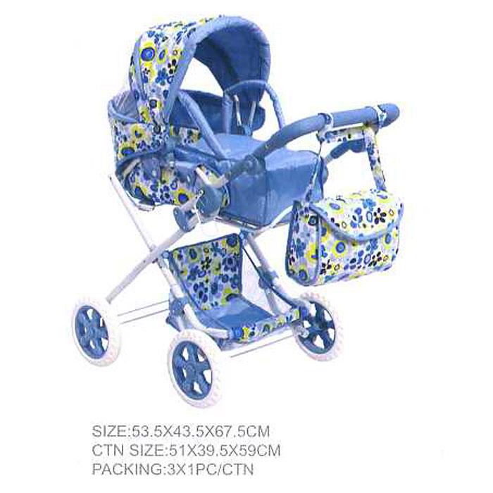 Коляска для куклы корзина, регулируемая ручка, сумка 82см (Китай)