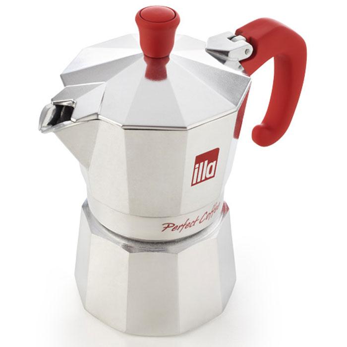 Кофеварка гейзерная Illa, цвет: красный, на 6 чашек