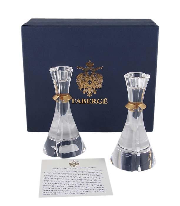 Подсвечники парные. Хрусталь, гранение, золочение. House of Faberge, конец XX века