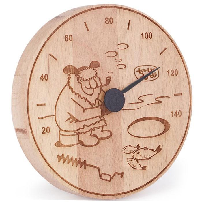 Термометр для бани и сауны Tapio (Тапио). 256256Термометры серии Tapio (Тапио) выполнены из древесины бука, обладающего притягательным розоватым цветом, ее плотность прекрасно переносит перепады температуры, что увеличивает срок службы изделий. Созданные для контроля оптимальной температуры в бане и сауне, они задают стиль банного интерьера. Стрелка механизма меняет настроение озорных персонажей термометров в зависимости от температуры. Максимальная измеряемая температура - 140 градусов. Характеристики: Диаметр термометра: 13,5. Материал: дерево, металл. Производитель: Россия. Артикул: 256.