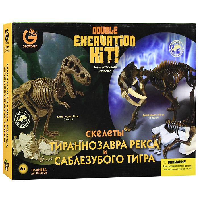 Набор для сборки фигурок Скелеты Тираннозавра Рекса и Саблезубого тиграCL166KRНабор Скелеты Тираннозавра Рекса и Саблезубого тигра привлечет внимание вашего ребенка и не позволит ему скучать. Набор состоит из молотка, стамески и частей скелетов, которые с помощью пластиковых инструментов нужно извлечь из гипсовой формы. Каждый скелет состоит из 13 частей. Тираннозавр Рекс - один из самых больших из всего семейства тираннозавридов и один из последних динозавров Мезозойской эры. Его останки были найдены в Северной Америке. У него острые, похожие на кинжал, зубы, плоские по бокам и с зазубренными краями. Сильные задние ноги динозавра были вооружены большими смертоносными когтями. Саблезубый тигр, также называемый Смилодоном, жил от двух миллионов до десяти тысяч лет назад в период от Миоцена до Плейстоцена, длина его была два с половиной метра. Самой важной особенностью этого тигра были два клыка длиной до восьми дюймов и огромная пасть, которая могла открываться на 95°. С такой пастью легко было удерживать добычу, в основном мамонтов и бизонов. Однако...