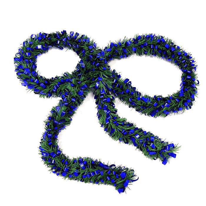 Новогодняя мишура Новый год, цвет: зеленый, синий, 208 см0268-0012Новогодняя мишура Новый год, выполненная из ПВХ и фольги, поможет вам украсить свой дом к предстоящим праздникам, а новогодняя елка станет намного ярче и привлекательней. Мишура выполнена в виде еловой хвои и украшена ленточками синего цвета. Новогодней мишурой можно украсить все, что угодно - елку, квартиру, дачу, офис - как внутри, так и снаружи. Можно сложить новогодние поздравления, буквы и цифры, мишурой можно украсить и дополнить гирлянды, можно выделить дверные колонны, оплести дверные проемы. Новогодние украшения всегда несут в себе волшебство и красоту праздника. Создайте в своем доме атмосферу тепла, веселья и радости, украшая его всей семьей. Характеристики: Материал: фольга, ПВХ. Длина: 208 см. Артикул: 0268-0012.