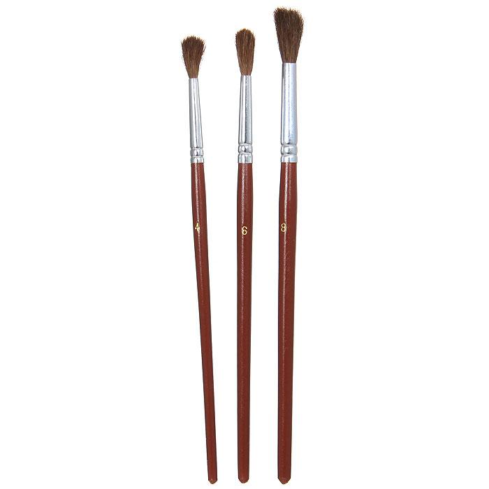 Кисти пони 3 шт 0,4,8 в блистере203102Кисти Nerchau помогут вам воплотить в жизнь любые ваши художественные начинания. Набор включает в себя 3 круглые кисти из волоса пони с номерами 4, 6 и 8.
