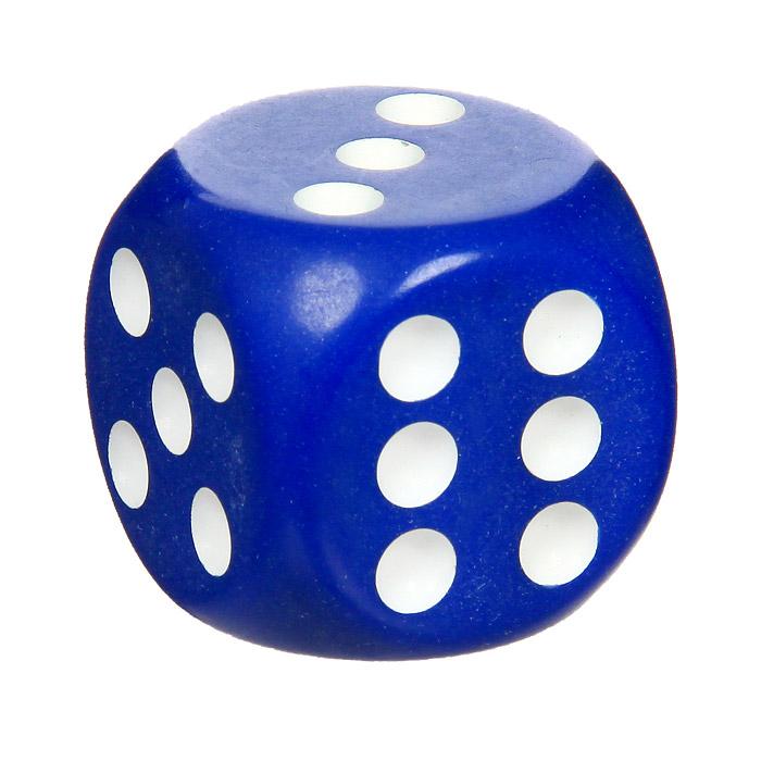 Кость игральная, цвет: синий, размер: 3,6 см60208Игральная кость синего цвета со значением на гранях от 1 до 6, предназначена для разнообразных настольных игр.