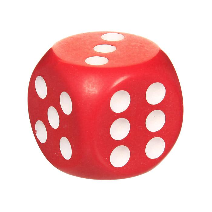 Кость игральная, цвет: красный, размер: 3,6 см60208Игральная кость красного цвета со значением на гранях от 1 до 6, предназначена для разнообразных настольных игр.