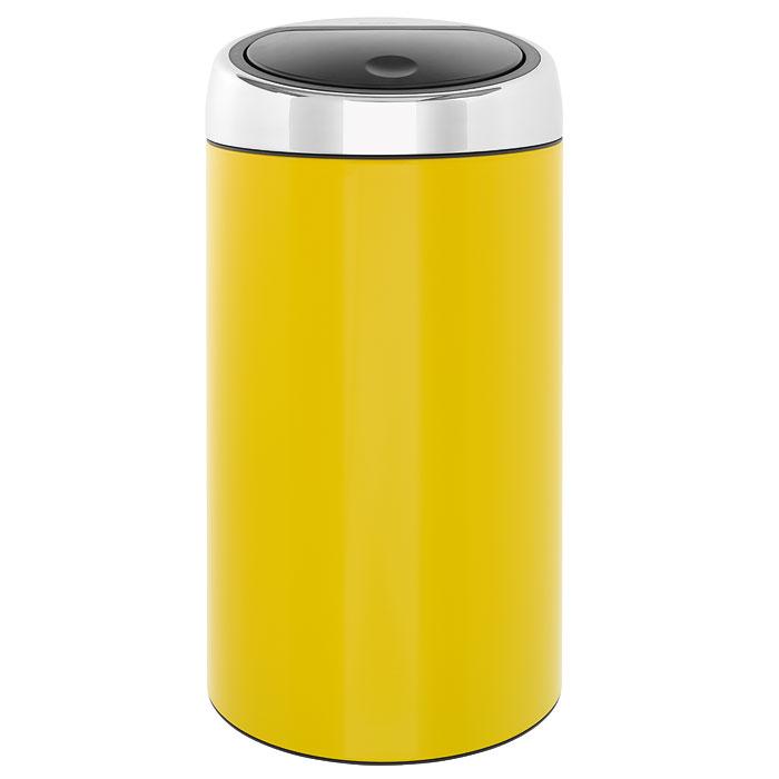 Мусорный бак Brabantia Touch Bin, цвет: желтый, 45 л424601Мусорный бак Brabantia Touch Bin желтого цвета выполнен из гальванизированой стали. Особенности мусорного бака Touch Bin: система закрытия brabantia -soft-touch съемная крышка из нержавеющей стали открытие крышки нажатием пластиковый защитный ободок (не царапает пол) внутренняя корзина из пластика со специальными вентиляционными отверстиями для предотвращения образования вакуума при извлечении полного пакета металлическая ручка на корзине ручка для переноса крышка закрывается/открывается бесшумно, плотно прилегает, предотвращая распространение запаха фирменные мусорные мешки в комплекте.