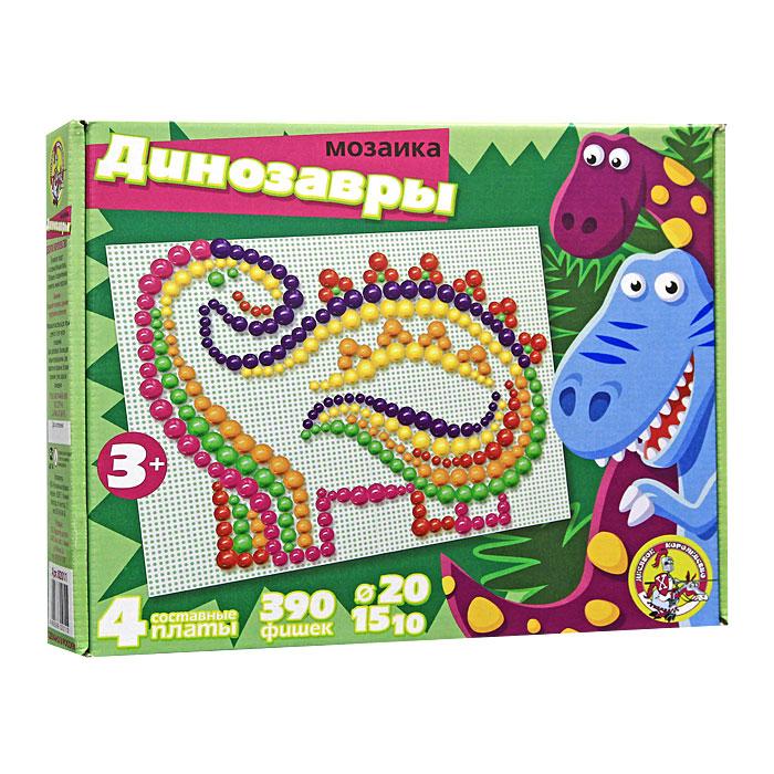 Мозаика Динозавры, 390 шт02011Мозаика - увлекательная развивающая игра для ваших детей. Она разовьет у ребенка творческие способности, воображение, координацию движений, мелкую моторику рук и ориентировку на плоскости. Рисунки, представленные на упаковке, являются только примером, так как эта универсальная мозаика раскрывает перед ребенком неограниченные возможности моделирования и создания множества своих собственных рисунков.