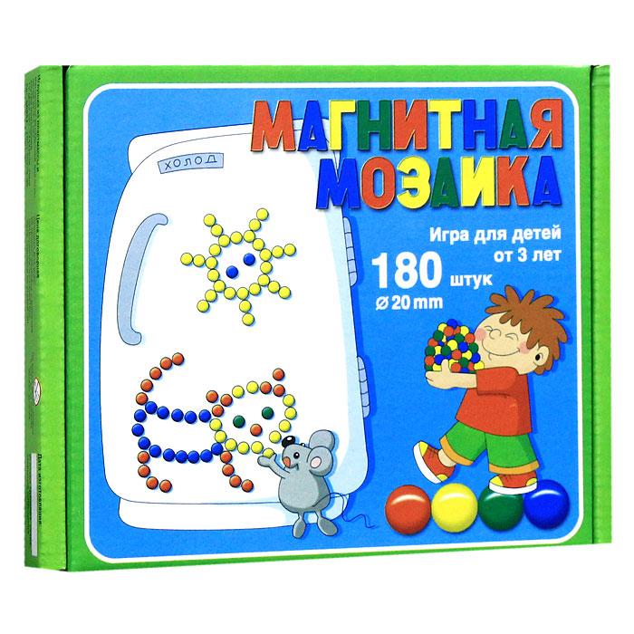 Магнитная мозаика, 180 элементов00944Магнитная мозаика - это одновременно увлекательная и развивающая игра для детей 3-х лет и старше. Набор крупных пластмассовых деталей разнообразных геометрических форм и цветов побуждает ребенка к творчеству и созданию множества сюжетных картинок. Игра в мозаику доставит большое удовольствие Вашему малышу, познакомит его с геометрическими фигурами, поможет развить мелкую моторику рук, усидчивость, художественное воображение и творческие навыки. Рисунки, представленные на упаковке, являются только примером, так как эта мозаика раскрывает перед ребенком неограниченные возможности моделирования и фантазии в создании своих рисунков. В комплект игры магнитная доска не входит.