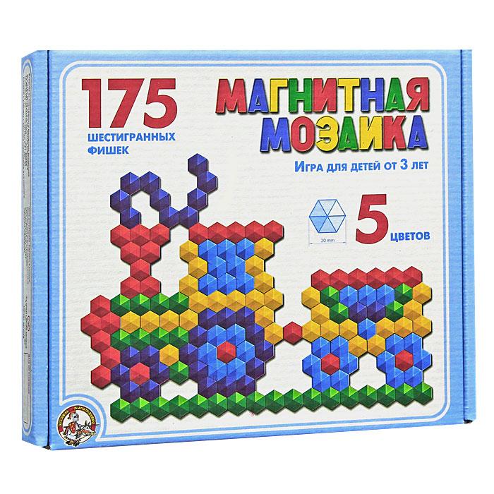 Мозаика магнитная, 175 шт00959Магнитная мозаика - это одновременно увлекательная и развивающая игра для детей 3-х лет и старше. Набор пластмассовых деталей разных цветов в форме шестиугольников побуждает ребенка к творчеству и созданию множества сюжетных картинок. Игра в мозаику доставит большое удовольствие вашему малышу, поможет развить мелкую моторику рук, усидчивость, художественное воображение и творческие навыки. Рисунки, представленные на упаковке, являются только примером, так как эта мозаика раскрывает перед ребенком неограниченные возможности моделирования и фантазии в создании своих рисунков. В комплект игры магнитное поле не входит.