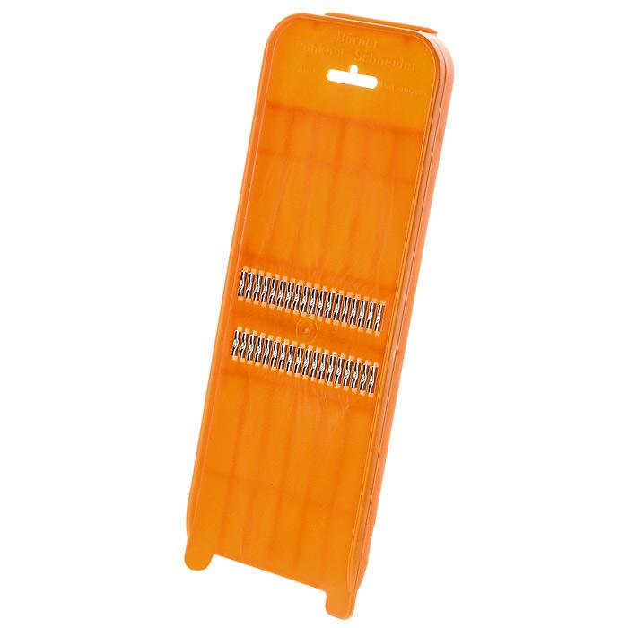 Роко-терка Borner Classic для корейской моркови, цвет: оранжевый 110110Овощерезка Borner Poko будет отличным помощником на вашей кухне, особенно для любителей моркови по-корейски. Эта овощерезка имеет ударопрочный пластмассовый корпус с острыми нержавеющими ножами, заточенными с двух сторон. Виды нарезки: тонкая длинная соломка из овощей; тонкая короткая соломка; мелкая крошка; мелкая стружка.
