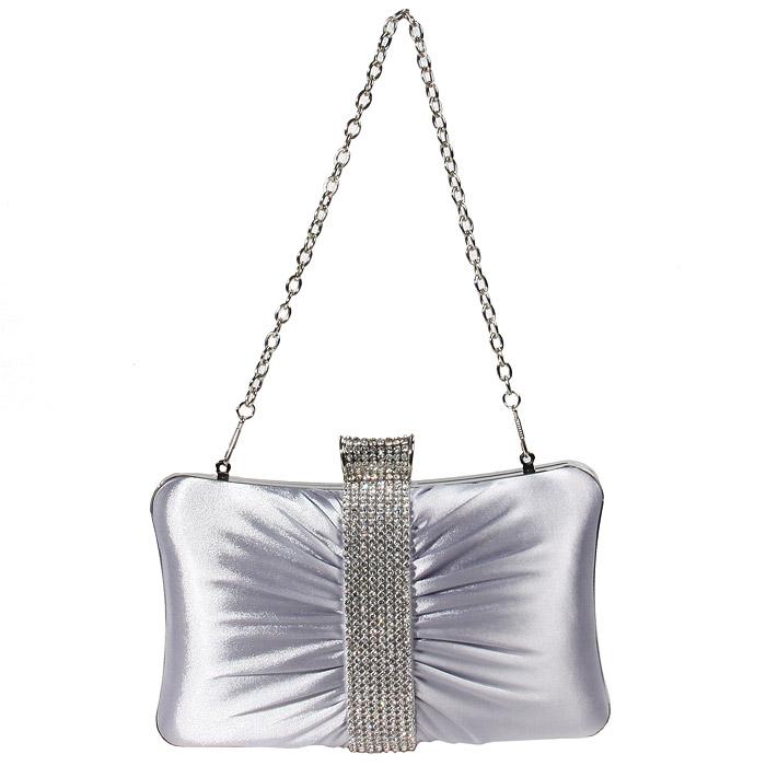 """Стильный клатч  """"Milana """", выполненный из атласа серебристого цвета..."""
