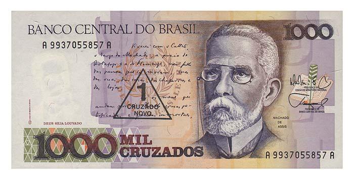 Банкнота номиналом 1 новый крузадо. Бразилия, 1989 год131004Размер 15,5 х 7,4 см. Надпечатка 1 новый крузадо сделана на банкноте номиналом 1000 крузадо 1987 года.