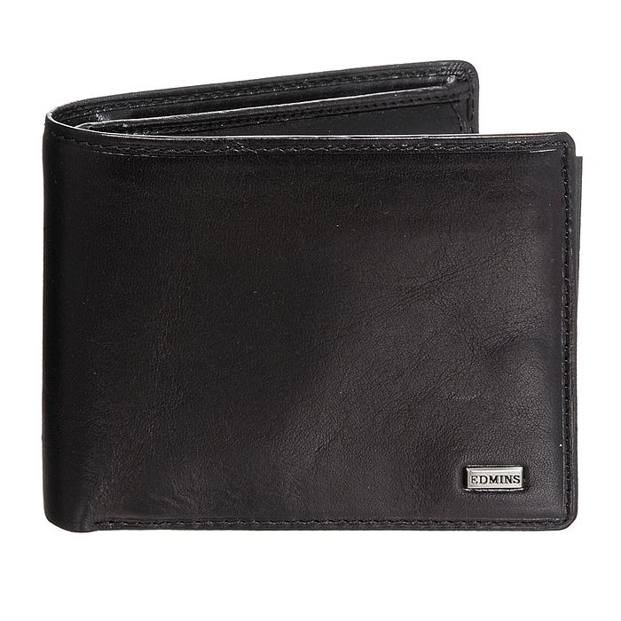 Портмоне Edmins, цвет: черный. 1842 ML ED black207527Стильное портмоне Edmins, выполненное из натуральной кожи черного цвета, станет стильным аксессуаром, идеально подходящим вашему образу. Внутри: три отделения для купюр, карман для мелочи на кнопке, три кармашка для мелких бумаг, шесть карманов для кредитных карт или визиток, два кармана с пластиковыми окошками и два дополнительных кармана для бумаг. Портмоне упаковано в коробку из плотного картона с логотипом фирмы.