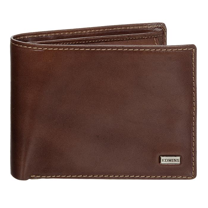Портмоне Edmins, цвет: коричневый. 1842 ML ED brown207528Стильное портмоне Edmins, выполненное из натуральной кожи коричневого цвета, станет стильным аксессуаром, идеально подходящим вашему образу. Внутри: три отделения для купюр, карман для мелочи на кнопке, три кармашка для мелких бумаг, шесть карманов для кредитных карт или визиток, два кармана с пластиковыми окошками и два дополнительных кармана для бумаг. Портмоне упаковано в коробку из плотного картона с логотипом фирмы.