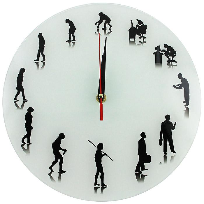 Настенные античасы Эволюция92672Настенные античасы Эволюция своим эксклюзивным дизайном подчеркнут оригинальность интерьера вашего дома или офиса. Античасы выполнены из стекла с обратным механизмом хода. Эти часы станут прекрасным подарком людям ценящим чувство юмора и практичность.