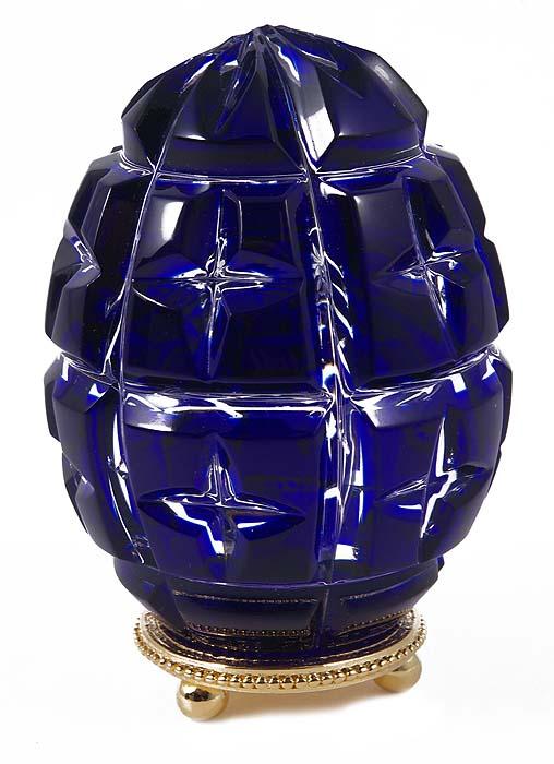 """купить Яйцо  """"Голубая звезда """".  Хрусталь, металл, позолота, гравировка."""